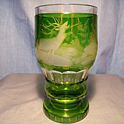 Vintage Bohemian Cut to Clear Beaker Vase