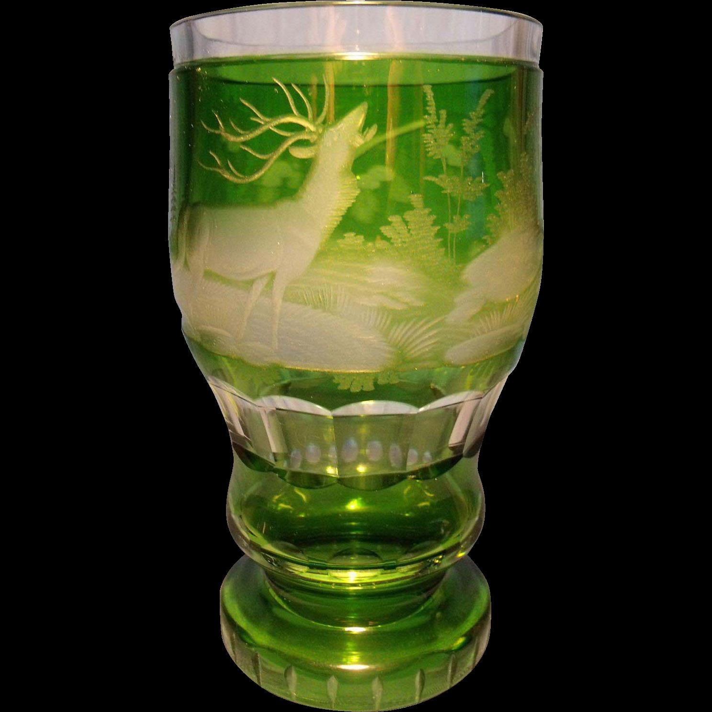 Vin e bohemian cut to clear beaker vase from glassalley - Vase haut transparent ...