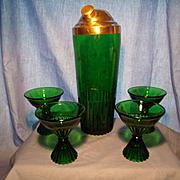Paden City Emerald Glo Cocktail Set