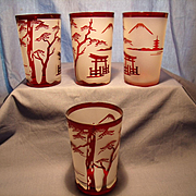 4 Ruby and Satin Glass Tumblers
