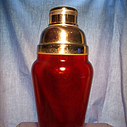 Vintage Ruby Glass Cocktail Shaker