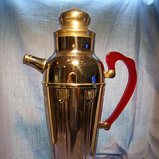 Deco Chrome Cocktail Shaker with Red Bakelite Handle