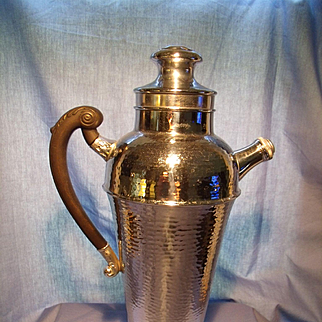Large Chrome Cocktail Shaker with Bakelite Handle