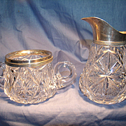 Wilcox Cut Crystal and Sterling Cream and Sugar.