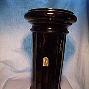 Pilgrim Mid Century Black Glass Column Vase
