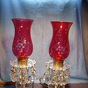 Pair of Vintage Crystal and Cranberry Lamps
