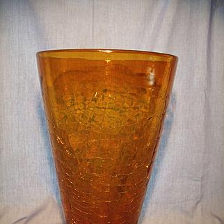Blenko #7166L Wheat Crackle Vase
