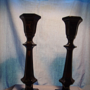 Pair Panel Style Black Glass Candlesticks