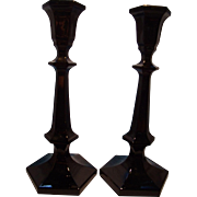 Pair Panel Style Black Glass Candlesticks