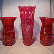 3 Cranberry Glass Hurricane Shades
