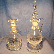 Two Jersey Glass Blown Crackle Bottles