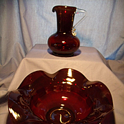 Beacon Ruby Glass Bowl and Pitcher