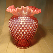 Eight Inch Cranberry Opalescent Vse