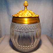 Cut Glass Humidor with Cast Brass Lid and Rim