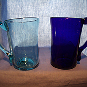 Pair of Blown 1930's Clevenger Mugs