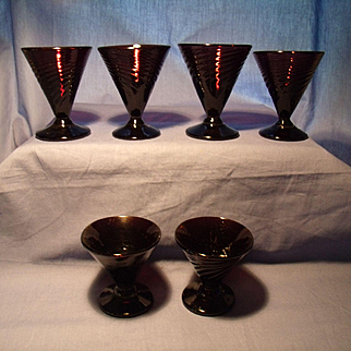 "6 ""Clementon Style"" Jersey Glass wine glasses"