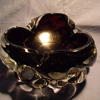 Mid Century Murano Sommerso Bowl