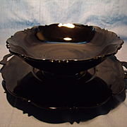 "C. 1930's Black ""Mayfair"" Platter and Bowl"
