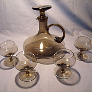 Mid Century Smoked Glass Decanter Set