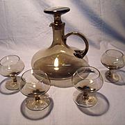 Mid Century Smoked Glass Decanter Set