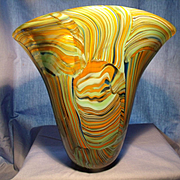 Modern Design Art Glass Patchwork Vase.