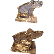 Pair Crystal Elephant Bookends