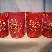 Four Antique Cranberry Glass Tumblers