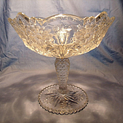 Large Early American Pattern Glass Pedestle Bowl