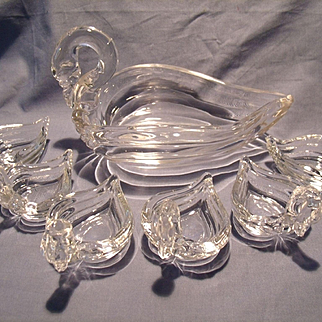 Heisey 7pc Swan Nut/Mint Dish Set