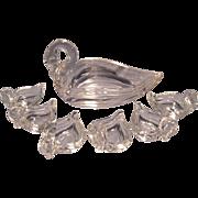 Heisey 7pc Swan Nut/Mint Dish Set