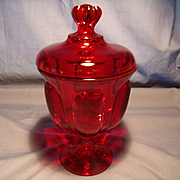 Ruby Glass Covered Candy Jar