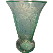 Tall Paden City Peacock and Rose Vase C. 1920's