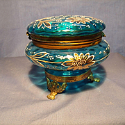 Footed, Decorated Bohemian Glass Box