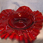 Ruby Glass Ruffled Bon Bon