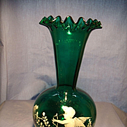 Blown Mary Gregory Style Cupid Vase