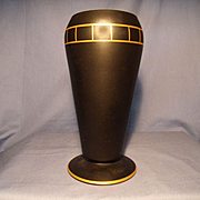 Tiffin Black Satin Dahlia Vase C 1926