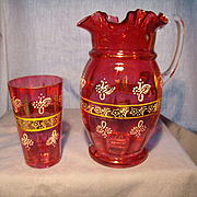 Cranberry Bohemian Glass Pitcher and Tumbler