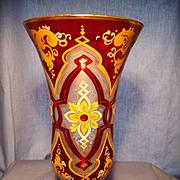 Hand Painted Bohemian Vase C 1900