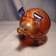 Amber/cobalt Art glass Pig