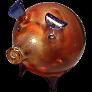 Amber/cobalt Art glass Pig - Red Tag Sale Item