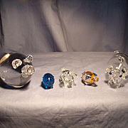 Five Crystal Pig Figurines