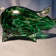 Mottled Green Art Glass Pig Figurine/Paperweight