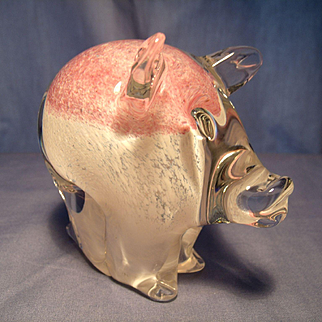 Granna Sweden Glass Pig Paperweight