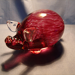 Amethyst Swirled Art Glass Pig