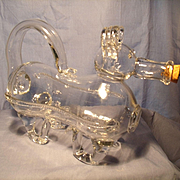 "English 1920's ""Gin Pig"" Dog Decanter"