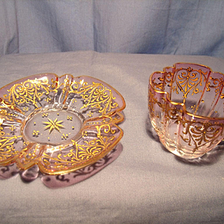 Moser  Gilded Demitasse Cup and Saucer