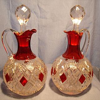 Diamond and Fan with Ruby Cruets c 1880's