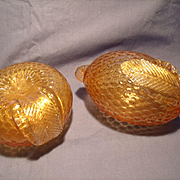 Pair of Murano Golden Fruit Paperweights