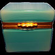 Blue Murano Opalino Glass Box