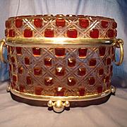 Oversize Amberina Glass Casket